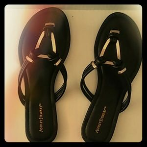Ashley Stewart Shoes - Black and Gold Sandal